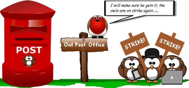 Image of an owl post office with owls holding signs