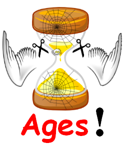 Image of an hourglass with cobwebs and two white wings being cut off .