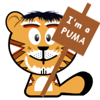 "Image of me (cartoon Cat Comedian) holding a sign saying ""I'm a PUMA"""
