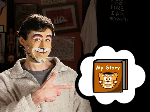 """A picture of me pointing to """"My Story"""" book."""