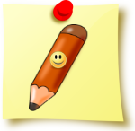 Image of a yellow post-it note with a smiling pencil on it.