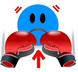 Image of a blue depressed face punching itself with big red boxing gloves.