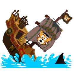 "Image of a boat sinking in shark infested waters with the ""Cat Comedian"" symbol on its sail."