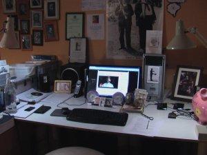 A picture of my studio den work desk