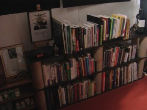 A picture of my studio den (Home made book case)