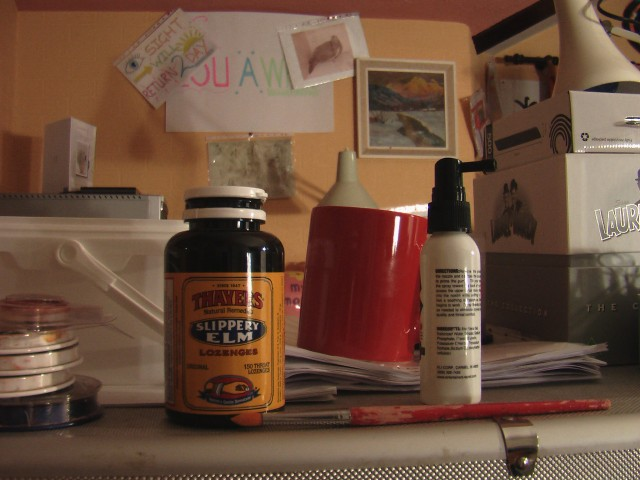 A picture of my studio den (Thayers Slippery Elm Lozenges)