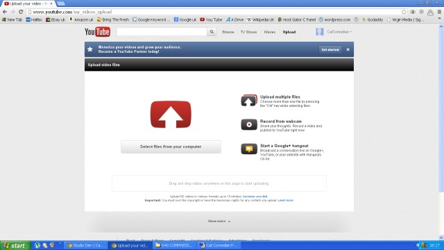 A screen shot of You Tube upload page