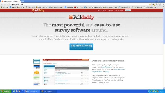 A screen shot of Polldaddy website
