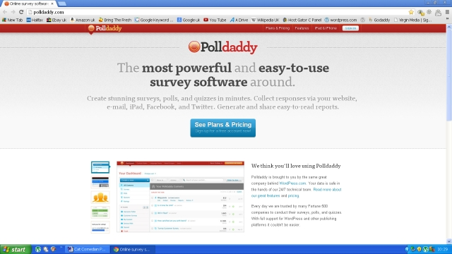 A screen shot of Polldaddy website