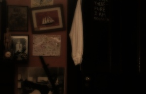A picture of my studio den (darker version) which I use for my website background