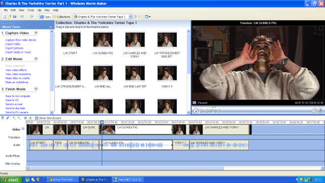 A screen shot from Windows Movie Maker 2.1 (Windows XP)