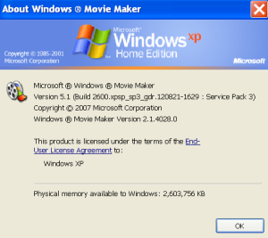 A screenshot from Windows Movie Maker 2.1 (Windows XP)