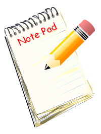 An image of a note pad and pencil