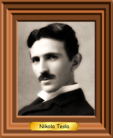 A framed picture of Nikola Tesla
