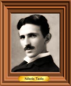 A framed picture of Nikola Tesla