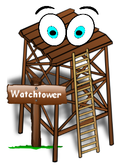 Image of a cartoon wooden watchtower with big eyes