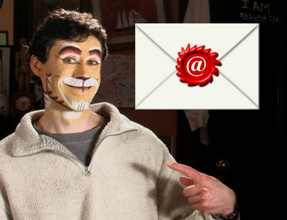 An image of me pointing to myself with a big envelope above my hand.