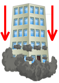 Image of a building falling down.