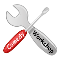 "Image of a screwdriver and a spanner with ""Comedy Workshop"" written on them ."