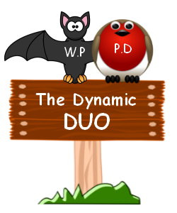 "Image of a bat and robin both sitting on a sign which says "" The Dynamic DUO"" ."