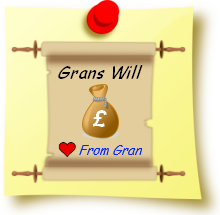 "Post-it note with "" Grans Wil "" on it."