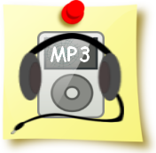Image of a post-it note with a MP3 player on it .