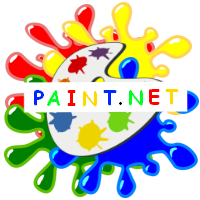 "Image of different colour paints with an artists pallet and the words ""PAINT.NET"" written on it ."