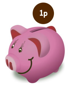 Image of a pink piggy bank with a one pence coin going in it .
