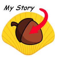 "Image of a nut on a shell with "" My Story "" written on it ."