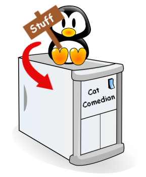 "Image of a penguin holding a sign saying "" Stuff "" sitting on a computer."