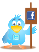 "Image of a twitter bird holding a ""Facebook"" sign."