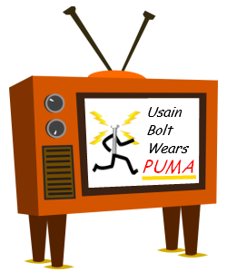 "Image of a T.V with a Puma advert playing...... ""Usian Bolt Wears PUMA""."