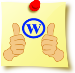 "Image of post-it note with ""Wordpress"" logo and two thumbs up."