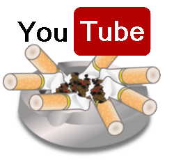 "Image of the "" You Tube "" logo in an ash tray with cigarette stubs."