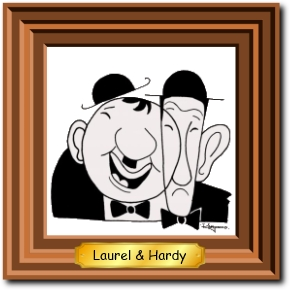 Framed picture of laurel & Hardy.