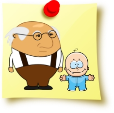 A post-it note with an old man and a baby on it.