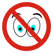 A pair of cartoon eyes behind a red warning sign.