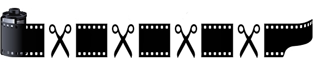 An image of a roll of movie film rolled out and cut into sections with black scissors